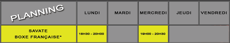 Planning cours Boxe Française - Savate