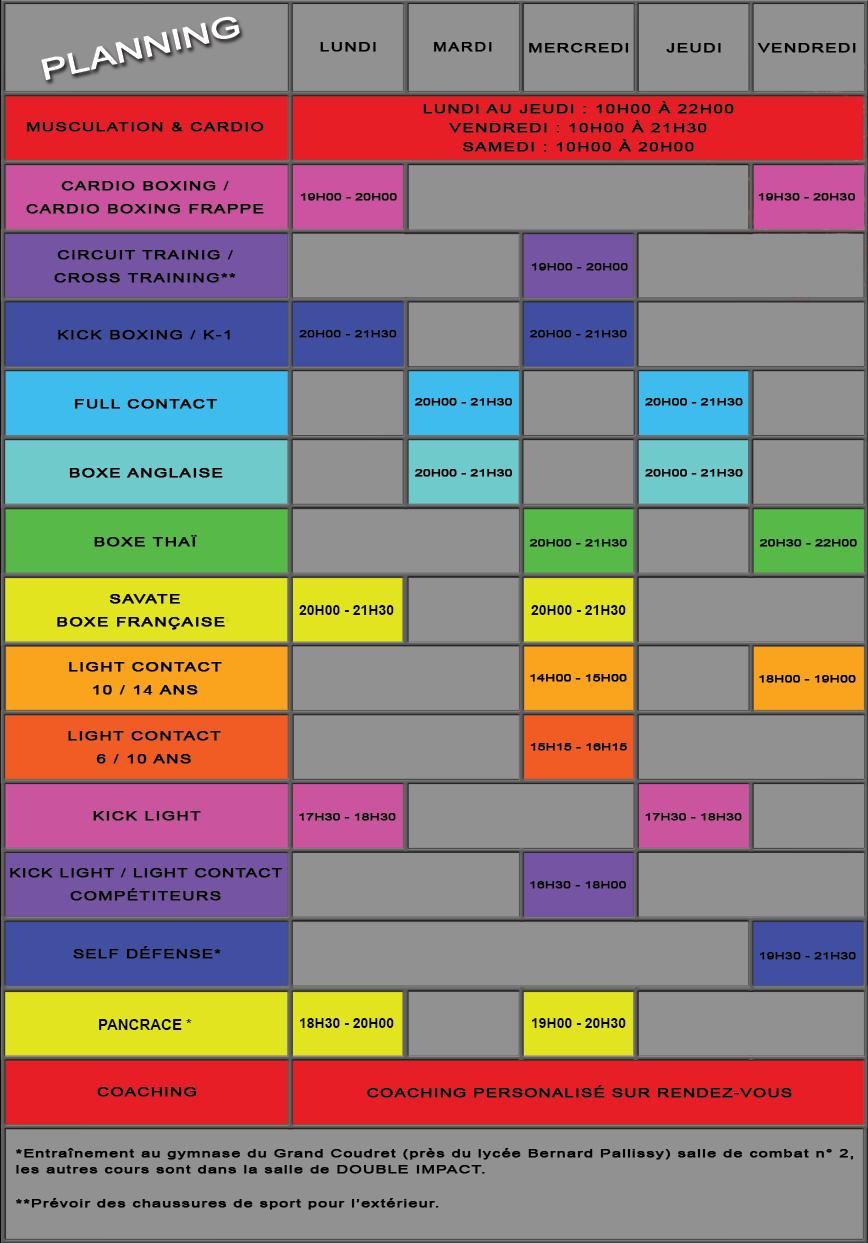 Planning des cours des disciplines - Saison 2017 - 2018