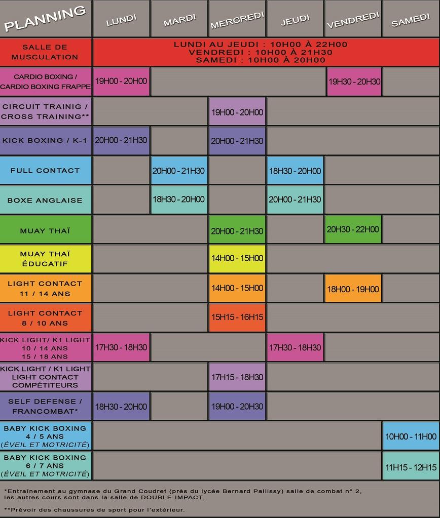 Planning des cours des disciplines - Saison 2019 - 2020