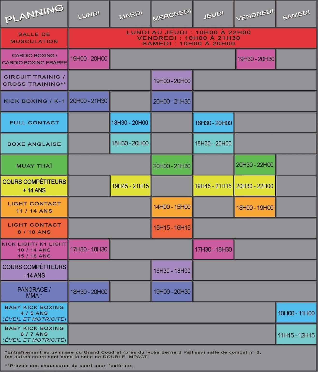 Planning des cours des disciplines - Saison 2020 - 2021