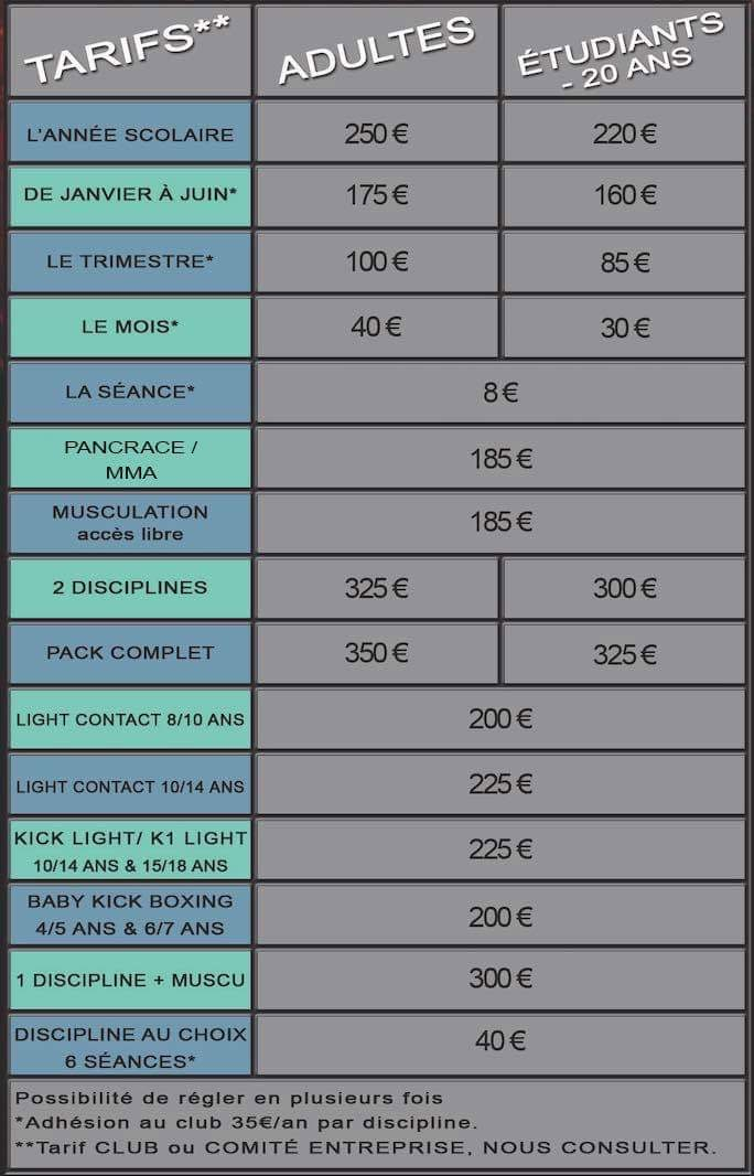 Les tarifs des cours du club de sport