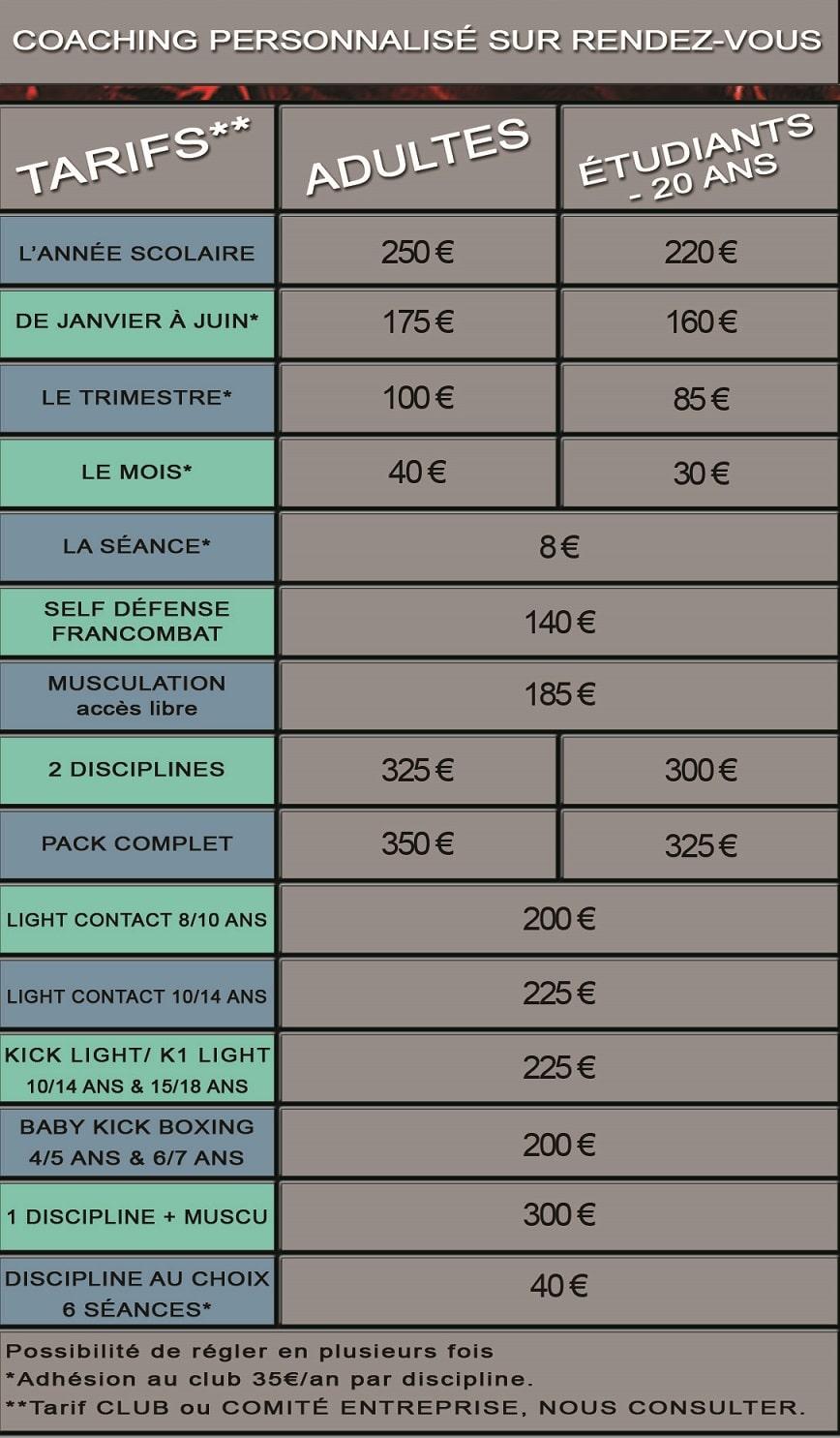 Planning Des Cours Tarifs Du Club De Sport Double Impact 17